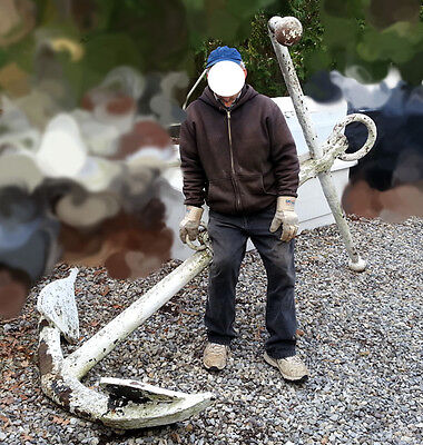 """Antique LARGE ANCHOR,600 Lbs+,Old Nautical,Marine,Maritime Tool,91"""" Tall Total"""