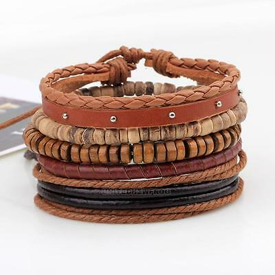2017 Fashion Men Women Leather Wrap Wristband Cuff Bracelet Bangle Jewelry Gifts