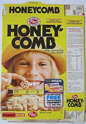 1976 Post Honeycomb Cereal Box blonde kid front gum sports gear offer