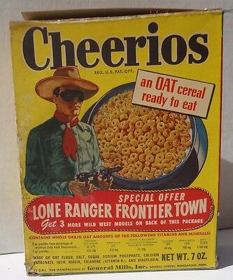 1948 General Mills Cheerios Cereal Box The Lone Ranger western frontier town 2