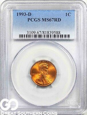 1993-D PCGS Lincoln Memorial Penny, RED, PCGS MS 67 RD