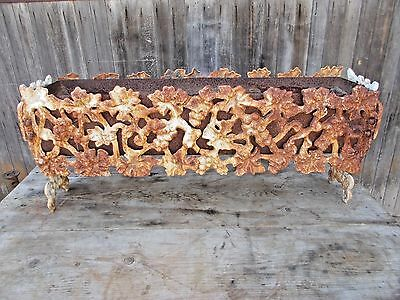 Vintage Cast Iron Planter Box Rusty Flower Box Herb Garden Grapes Design