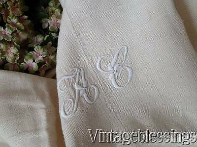 """19th c Heavy French Linen Monogrammed Tablecloth 100"""" x 48"""" Antique Centerseam"""