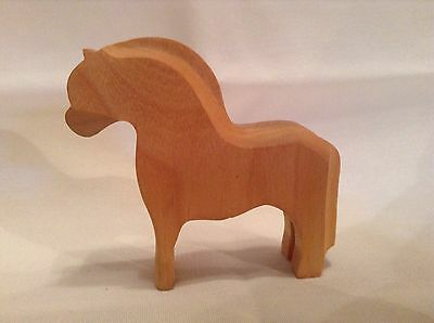 Vintage Hand Carved Folk Art Wood Horse Made In Norway 1987