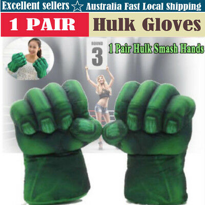 Pair Incredible Hulk Gloves Smash Hands Plush Punching Boxing Fists Cosplay AU Z