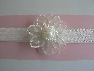 """White Newborn/Baby/Toddler/Girl Headband & 1.75"""" Double Lace Flower/Pearl Centre"""