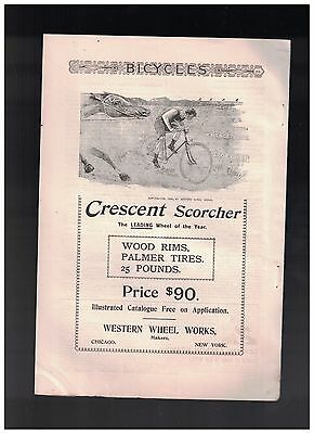 Man On Bicycle Racing A Horse in Nice 1894 Crescent Scorcher Bicycle Ad