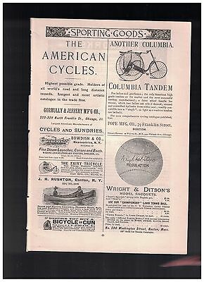 Terrific Illustraton of The Columbia Tandem Bicycle in 1888 Quarter Page Ad