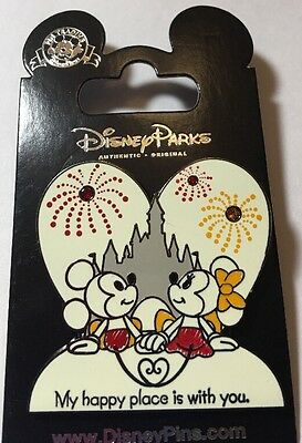 "Disney Mickey And Minnie Mouse "" My Happy Place Is With You "" Pin"