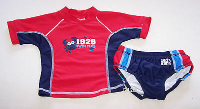 Swim Club Crab Boys Red Blue Rash Vest & Swim Nappy Bathers Set Size 0 New