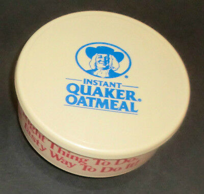 Vintage 1988 Instant Quaker Oatmeal Bowl w/ Lid Made in USA Cereal Soup