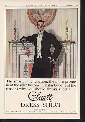 1908 Cluett Dress Shirt Bold Leyendecker Men Group Art Style Ad 15967