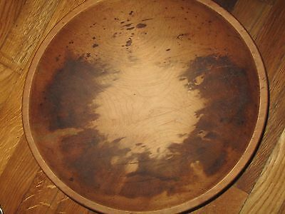 """ANTIQUE PRIMITIVE Wooden Oval Handcrafted Dough Bowl 14"""" x 15"""""""