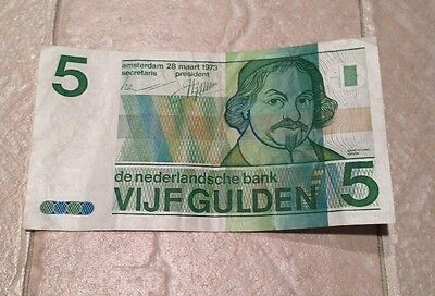 Vtg 1973 NETHERLANDS 5 GULDEN Bank Note Vijfgulden Used / Circulated