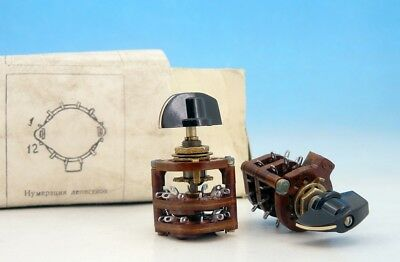 10x <> Soviet Rotary Switch + handle 4 pole 5 positions 4P5T 5П4Н 300V 25W 0.2A