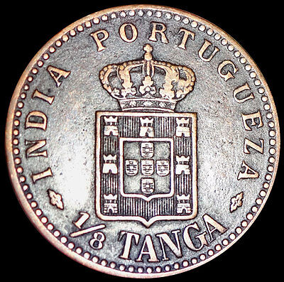 Portuguese India Goa - King Carlos 1 - 1/8 Tanga 1901 Rare Coin   #rz36