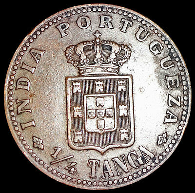 Portuguese India Goa - King Carlos 1 - 1/4 Tanga 1903 Rare Coin   #rz35