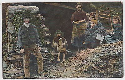 Evicted Tenant And His Family Postcard Irish Social History Card 1904 Hartmann