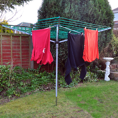 Kingfisher 4 Arm Rotary Clothes Airer White Dryer 50M Washing Line Outdoor New