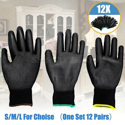 12/24 Pairs PU Nylon Safety Coating Work Gloves Grip Builders Palm Protect S M L