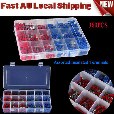 360PCS Assorted Insulated Electrical Wire Terminal Connector Crimp Spade Set Kit