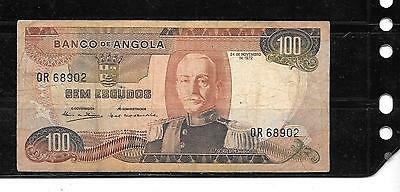 Angola #101 1972 Vg Circ 100 Escudos Old Banknote Paper Money Currency Bill Note