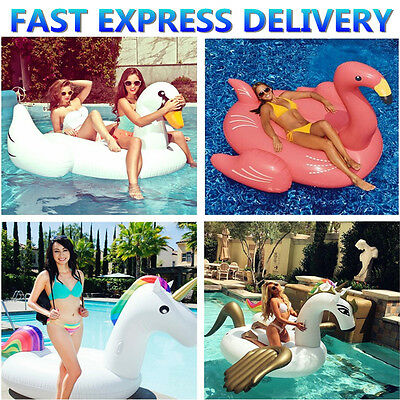 Inflatable Swimming Ring Ride-on Flamingo Swan Unicorn Water Lake  Swim Summer A