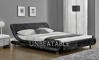Designer Velvet Fabric Double King Size Bed Silver or Black With Mattress