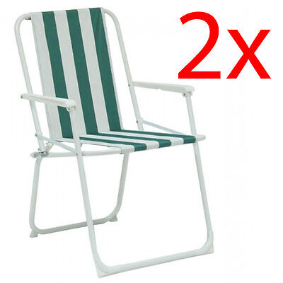 2 Kingfisher Garden Patio Folding Striped Deck Picnic Camping Beach Party Chair
