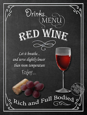 Red Wine  Retro Pub,bar,club, Man Shed,home Bar,metal Sign-Plaque Gift