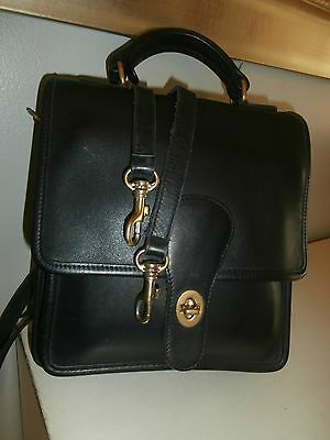 Vintage COACH 'Willis' Station Black Leather Messenger Cross Body Satchel 5130
