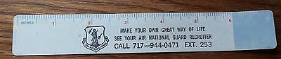 Advertising Air National Guard Recruiting Paper Ruler Inches And Metric Vintage