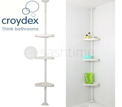 Croydex 3 Tier Adjustable Telescopic Bathroom Corner Shower Shelf Rack Organiser