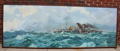 WWI WW1 World War 1 Navel Navy Ships on Rough Seas Oil Painting 43 X 116""