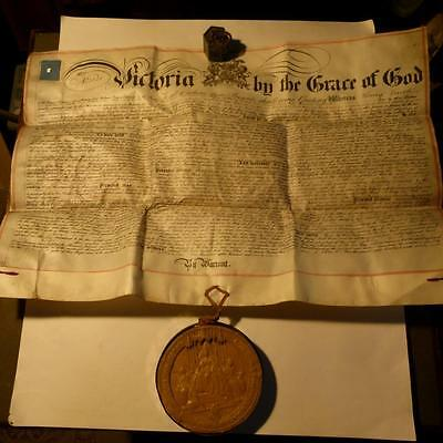 Antique 1877 Royal LETTERS PATENT Document & Grand Wax Seal HULL Alcohol Locust