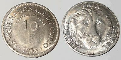 RARE UNCIRC LG 1965 CONGO COIN w AWESOME LION HEAD! 1ST COIN OF INDEP CONGO Nice