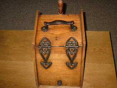 Beautiful Antique Wooden & Cast Iron Coal/Ash Scuttle, Metal Lined Insert WScoop