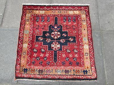 Old Traditional Persian Rug Wool Red Oriental Rug Hand Made Small Rug 90x85cm