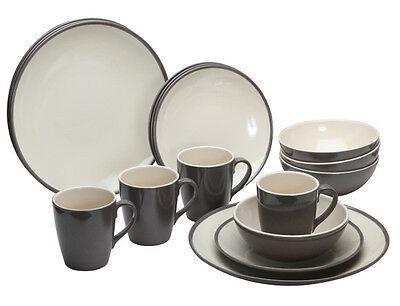 Quest Two Tone Burslem 16 Piece Melamine Tableware Set Caravan Camping