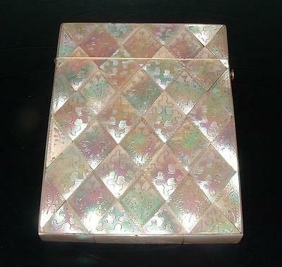 SUPERB ENGLISH ANTIQUE MOTHER OF PEARL CARVED CARD CASE FLOWER & DIAMONDS c19th