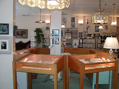 """Large Jewelry / Coin Oak Wooden Store Display Case w/ Lights-42""""H x 37""""  Wide"""