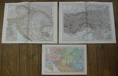 1893, Austria-Hungary, 3 Maps from the Universal Atlas