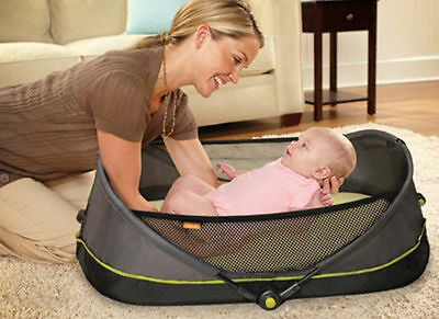Brica Fold 'N Go Travel Baby Bassinet Infant Portable Sleeper Bed CRIB EXCOND
