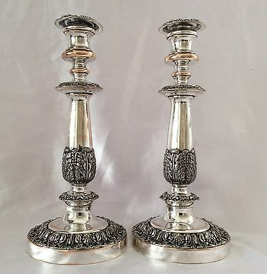 "Fabulous Pair Of 12"" Antique Mid Victorian Silver On Copper Candlesticks C.1860"