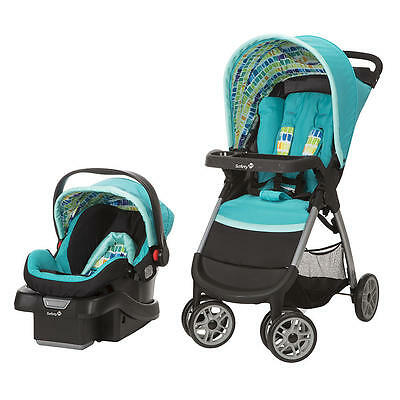 Safety 1st Amble Quad Stroller and Infant Car Seat Travel System, Rainbow Ice