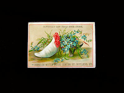 Victorian trade Card=Flower-filled Lady's SHOE=BOWTELLS Shoe Store=Rutland-VT