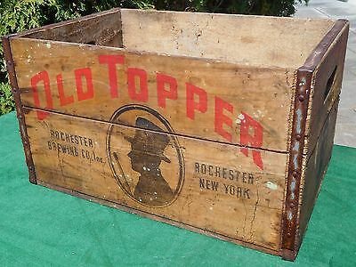 Vintage 'OLD TOPPER' Beer Advertising Wooden Crate Rochester, N.Y.