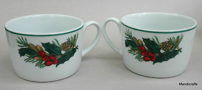 Coffee Mug Flat Teacup x3 Kopin Christmas Heritage Porcelain Holiday Holly Berry