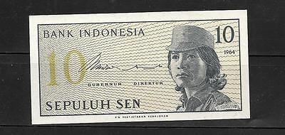 INDONESIA #92a 1964 UNC-MINT OLD 10 SEN BANKNOTE BILL NOTE paper money currency