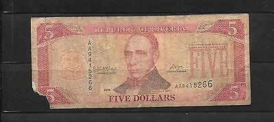 LIBERIA #26c 2006 AG NICE CIRCULATED $5 BANKNOTE PAPER MONEY CURRENCY BILL NOTE